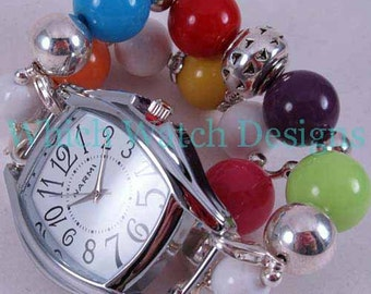Goody Gumballs.. Chunky Multi Colored Interchangeable Beaded Watch Band