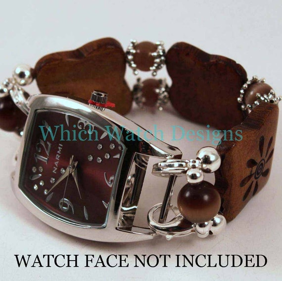 3 Bone Brown.. Flat Carved Bone and Brown Cat's Eye Interchangeable Beaded Watch Band