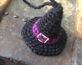 Super Tiny Crocheted Witch Hat - For Display Use, Wear, Or As An Ornament