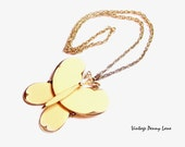 Vintage Butterfly Necklace, Gold Chain, Large Signed Pendant