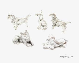 Vintage Dog Figurines, Silver Plastic