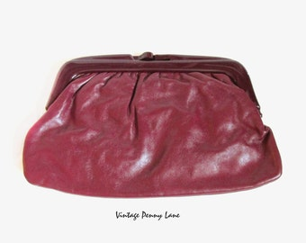 Vintage Plum Leather Clutch Purse / Handbag