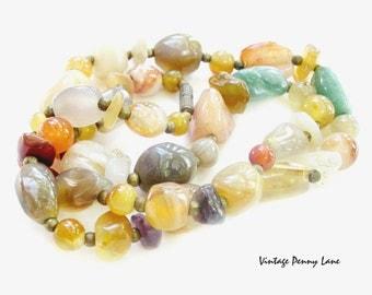 Vintage Agate Necklace, Gemstone Beads