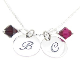 """Personalized, Mom Necklace, Sterling Silver Initial Charm, Swarovski Birthstone Crystals Sterling Silver Necklace 18"""", Mother's Day Gift"""