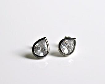 Sterling Silver Teardrop Cz Studs Earrings Pear Shape Minimal Jewelry Bridal Wedding Gift Idea Bridesmaid Gift