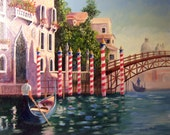 "Original Oil Painting on Canvas by Artist..""Venice Gondoliers"""