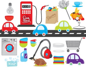 Household clipart - chores clip art road cars shopping groceries cart gas station washing machine duster cleaning house detergent bulb