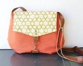 satchel • summer crossbody - geometric print • coral canvas - hand printed metallic gold on cream canva  • cross body - printed • hex