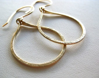 Gold Hoop Earrings, Gold Dangle Hoop Earrings, Hammered Hoop Earrings,