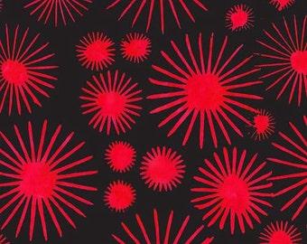 Batik Dandelion Bloom Black Red Fabric 1 yard