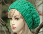 Emerald Green Knit Slouchy Hat, Slouchy Beanie Hat, Chunky Knit Hat, Hand Knit slouchy Hat, Womens Winter Hat - Chunky Reversible