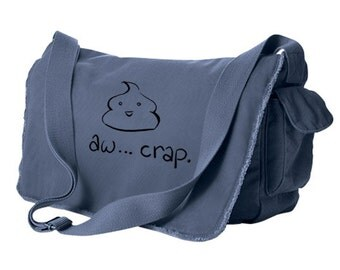 Cute poop Messenger Bag - Aw Crap! - kawaii poop emoticon laptop bag japan anime pastel goth