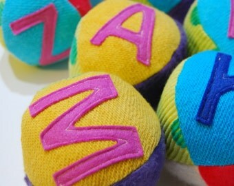 6 Custom Eco Party Favors Organic Personalized Initial Fabric Balls Rainbow Brights Montessori Play
