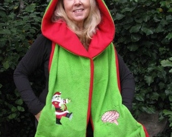 Zombie Santa and Brain - Hooded Scarf with pockets