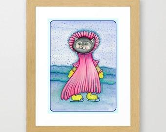 My Kitty Loves Winter Snow  Print from my original illustration 8x10 by Tanya Besedina