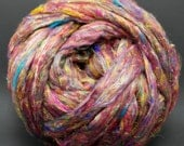 4 oz. Recycled Carded Sari Silk Roving - Colorful and Fun - Ships Free