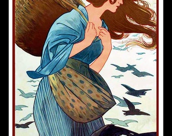 Art Nouveau Woman and Crows Refrigerator Magnet -  FREE US SHIPPING