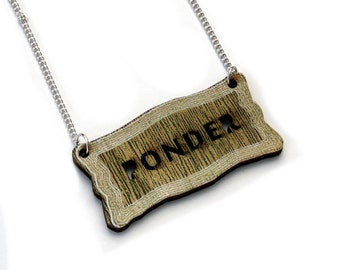 Inspirational 'Ponder' Necklace, Wood Jewelry
