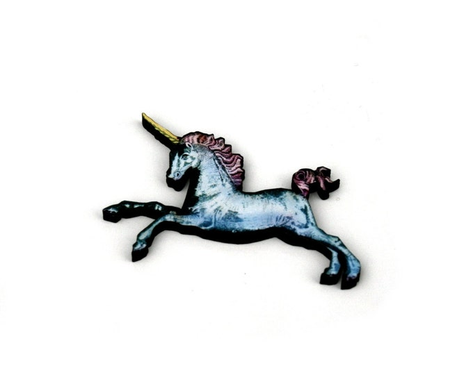 Unicorn Brooch, Wooden Unicorn Badge, Unicorn Illustration, Animal Brooch