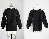 1980s black MOHAIR chunky knit wool sweater / xs - s