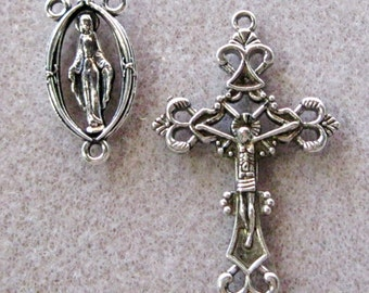Antique Silver Crucifix Cross Pendant Rosary Set Virgin Mary Charm 838