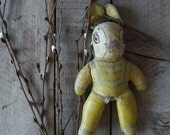 Antique Oil Cloth Rabbit, Vintage Stuffed Toy Bunny, Easter, Spring Decor, Collectible