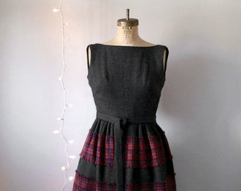 Vintage Plaid Wool Maxi Party Dress,  Holiday Fashion, Mr Mort, 1960s