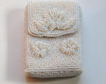 Vintage White Beaded Cigarette Case Unused with Flower Pattern
