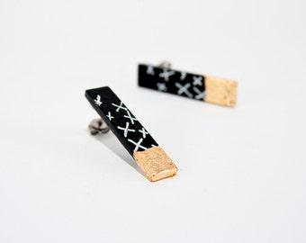 Black stud earrings, post earrings, gift for her, everyday earrings, white, minimalist, geometric earrings, modern jewelry, birthday gift