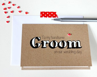 Handmade Wedding Card. Groom Card. Husband Card. Groom Wedding Day Card. Card for my Groom. Wedding Day Card for Groom. Rustic Wedding Card