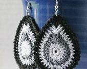 Crocheted Teardrop Earrings - Shades Of Gray