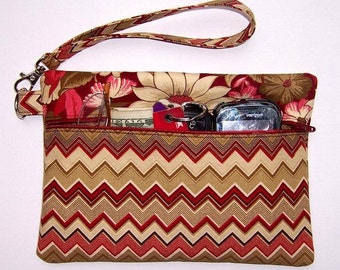 Maroon Tan Wristlet, Zig Zag Rust Cream Taupe Pink Clutch, Cell Phone Wristlet, Floral Wallet, Zippered Makeup, Gadget or Camera Bag