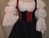 DDNJ Choose Fabrics 3 pc Renaissance Reversible Corset Style Bodice Chemise Skirt Larp Plus Custom Made ANY Size Costume Anime Pirate Wench