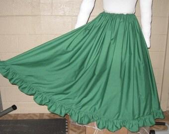 DDNJ Choose Color Cotton Ruffle Hem Skirt Renaissance Civil War Pirate Gypsy Witch Wedding Plus Custom Made ANY Size Medieval Cosplay Lolita