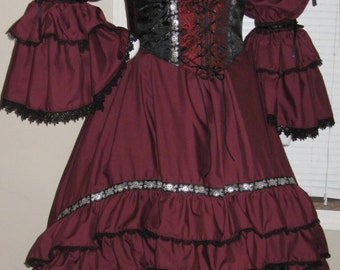 DDNJ Choose Fabric Burlesque Victorian Steampunk Style 3pc Plus Custom Made ANY Size Renaissance Goth Pirate Vampire Wedding Cosplay Costume