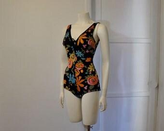 vintage swim suit / Ultimate Mod Vintage 60's One Piece Print 1960s Swimsuit
