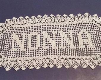 Filet Crochet Name Doily 5 letters Letter Style C custom made to order