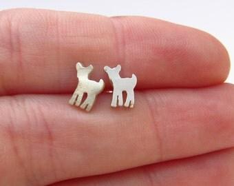 Cute Earrings - Stocking Stuffer - Fawn Stud Earrings - Deer Earrings - Silver Jewelry - Ready to Ship