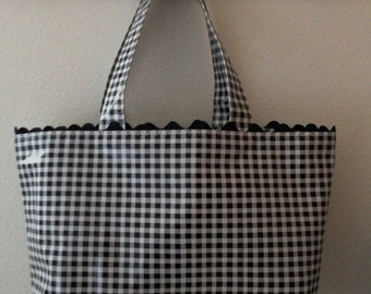 Beth's Large Gingham Oilcloth Tote Bag with Black Rick Rack