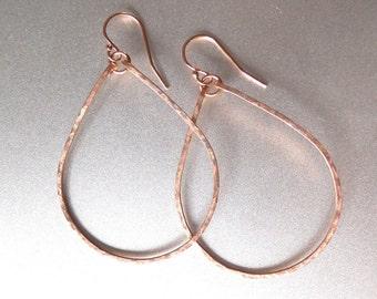 14K Rose Gold Hoops, Rose Gold Filled, Style: Kristiana, Hammered Hoop Earrings, Hammered Rose Gold Hoop Earrings