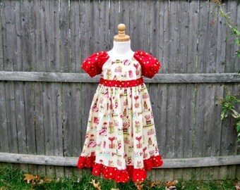 Girls Christmas dress, red and ivory, peasant dress, size 3, Ready to ship, OOAK, maxi dress, dress, toddler dress, red & green