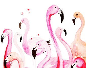 It's A Party Over Here Flamingo Illustration  Print
