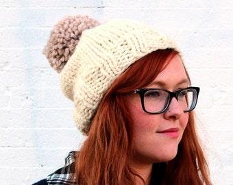 Knit Two-toned Oversized Pom Pom Beanie Hat - Cream and Ecru