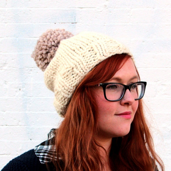 Knit Two-toned Oversized Pom Pom Beanie Hat - Cream and Ecru