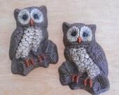 1970's Owl Pair • Vintage Owl Wall Decor
