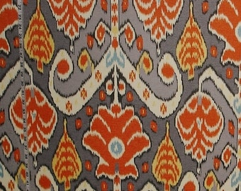 Orange grey ikat fabric African travel modern home decorating material 24""