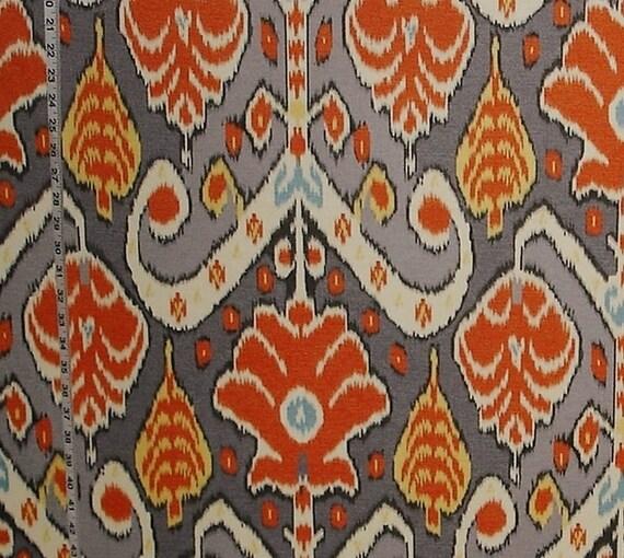 Orange grey ikat fabric African travel modern home decorating