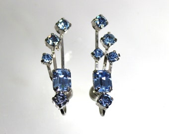 1920s Art Deco Earrings, Vintage Rhinestone Jewelry, Blue Flapper Girl Fashion