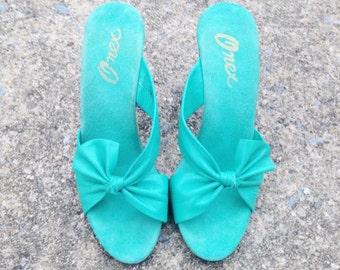 Vintage Aqua Leather Peeptoe Heels / Sz 6-7 Narrow