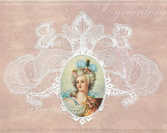 Marie Antoinette Cameo French Postcard Altered Art Collage Victorian Post Card Ephemera Vintage Scrapbook Instant Digital Download Printable